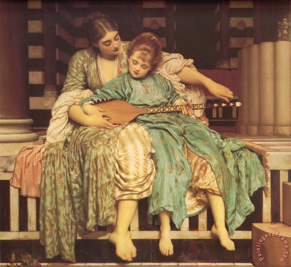 Music Lesson painting - Lord Frederick Leighton Music Lesson Art Print