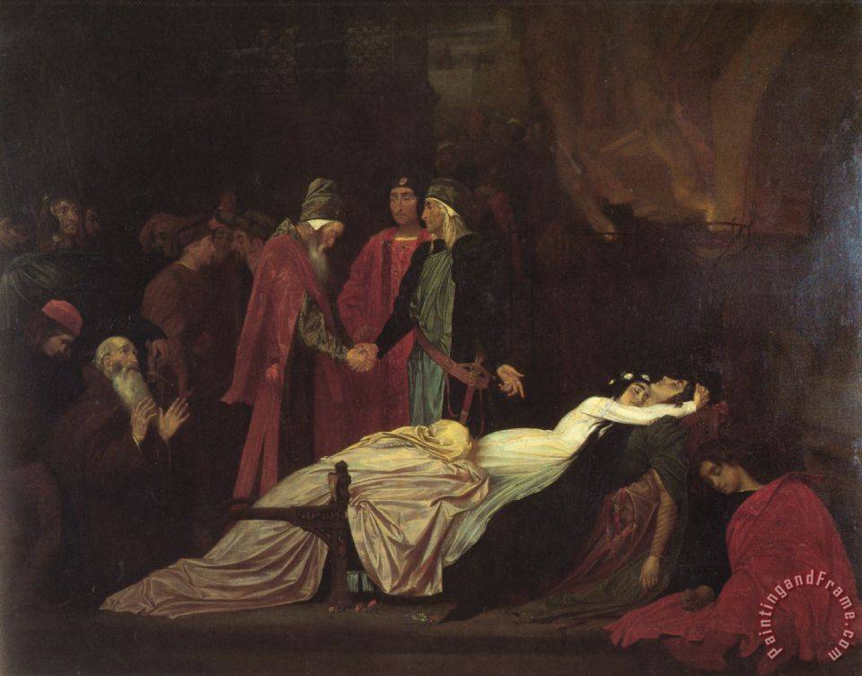 The Reconciliation of The Montagues And Capulets Over The Dead Bodies of Romeo And Juliet painting - Lord Frederick Leighton The Reconciliation of The Montagues And Capulets Over The Dead Bodies of Romeo And Juliet Art Print