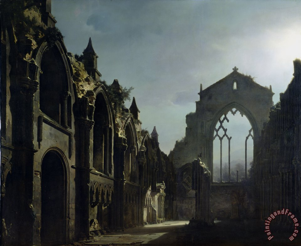 Ruins of Holyrood Chapel painting - Louis Jacques Mande Daguerre Ruins of Holyrood Chapel Art Print