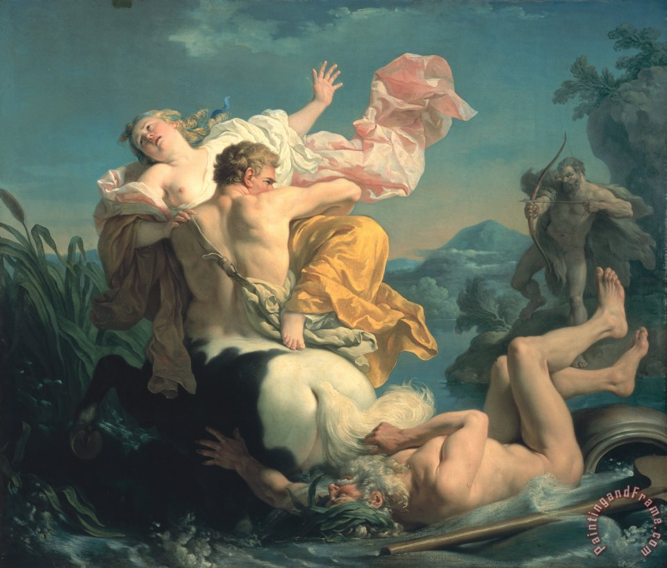 The Abduction of Deianeira by the Centaur Nessus painting - Louis Jean Francois Lagrenee The Abduction of Deianeira by the Centaur Nessus Art Print