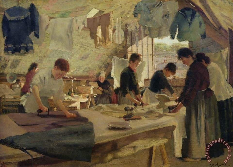 Ironing Workshop In Trouville painting - Louis Joseph Anthonissen Ironing Workshop In Trouville Art Print