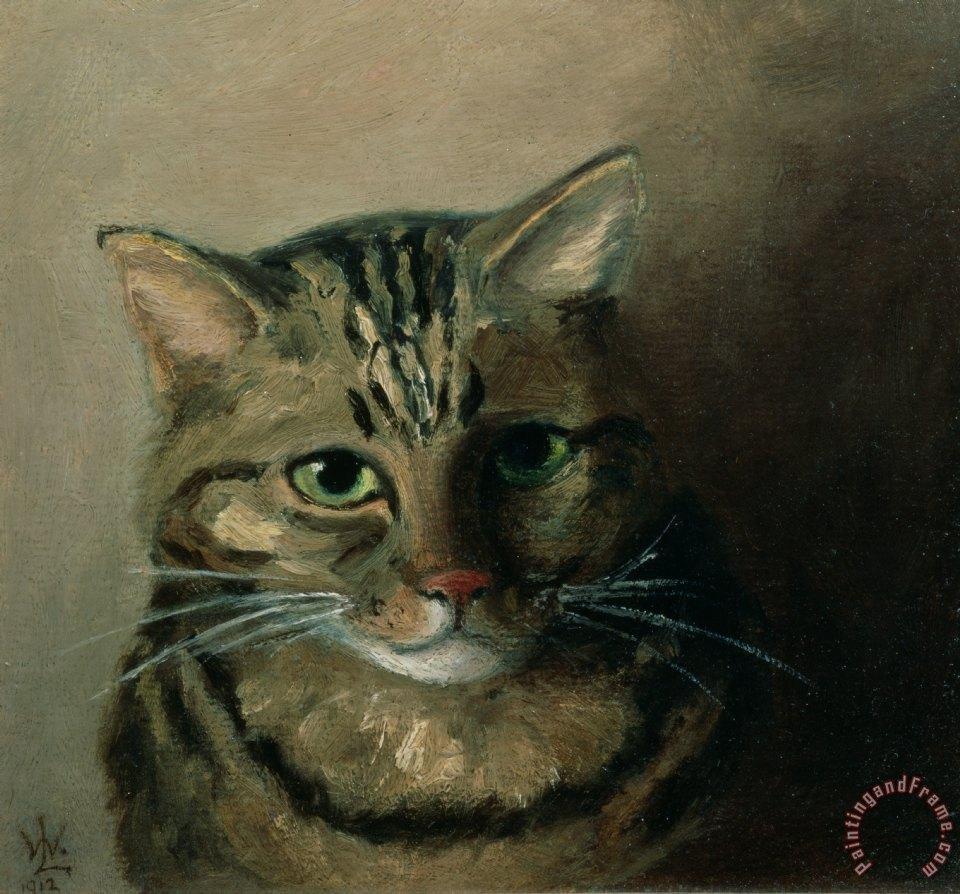f4f95cf01b0 Louis Wain A Head Study of a Tabby Cat painting - A Head Study of a ...