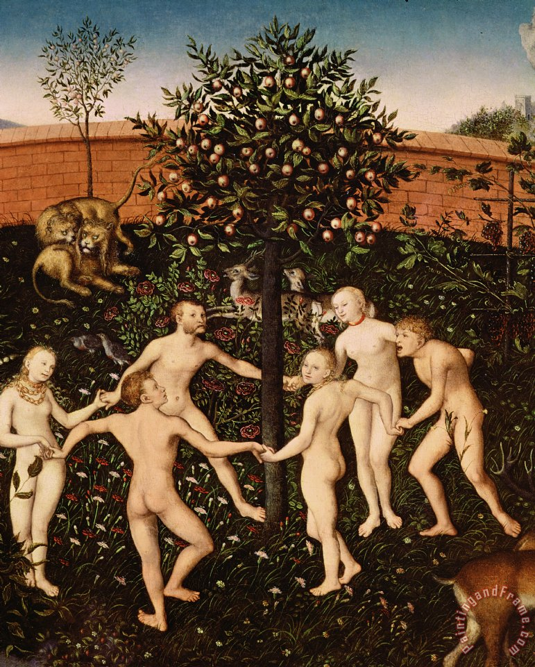 The Golden Age painting - Lucas Cranach The Golden Age Art Print