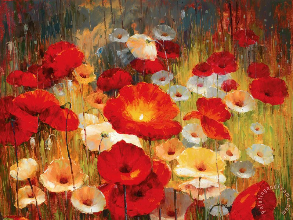 Meadow Poppies I painting - Lucas Santini Meadow Poppies I Art Print