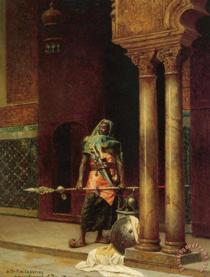 Ludwig Deutsch A Nubian Guard Painting A Nubian Guard