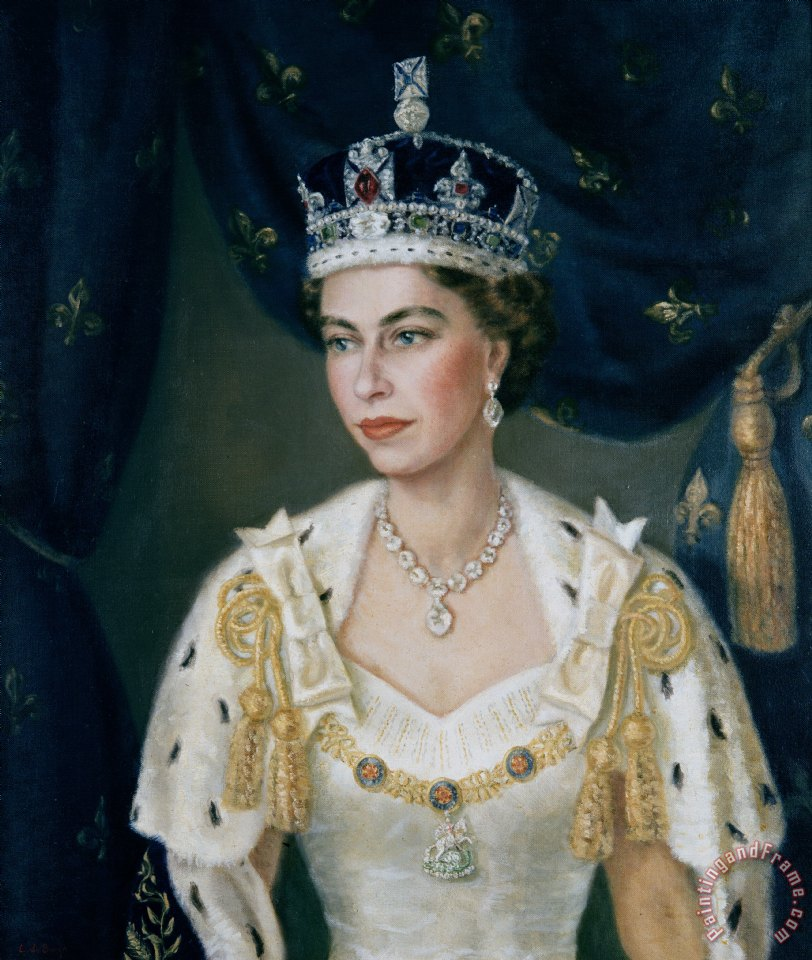 Lydia de Burgh Portrait of Queen Elizabeth II wearing coronation robes and the Imperial State Crown Art Painting