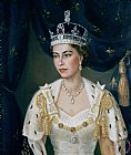 Portrait of Queen Elizabeth II wearing coronation robes and the Imperial State Crown by Lydia de Burgh