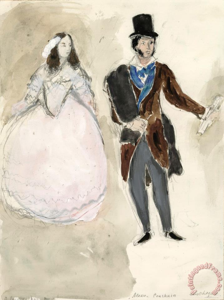 A Poet And His Muse. Costume Design for Scene IV of The Ballet Aleko. (1942) painting - Marc Chagall A Poet And His Muse. Costume Design for Scene IV of The Ballet Aleko. (1942) Art Print