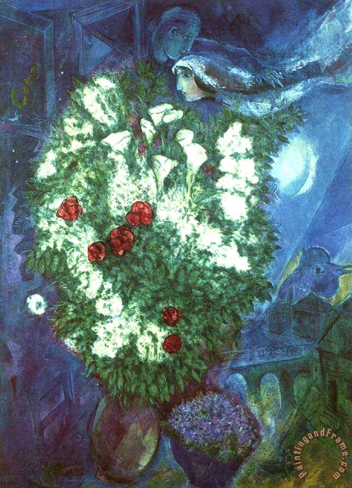 Bouquet with Flying Lovers painting - Marc Chagall Bouquet with Flying Lovers Art Print