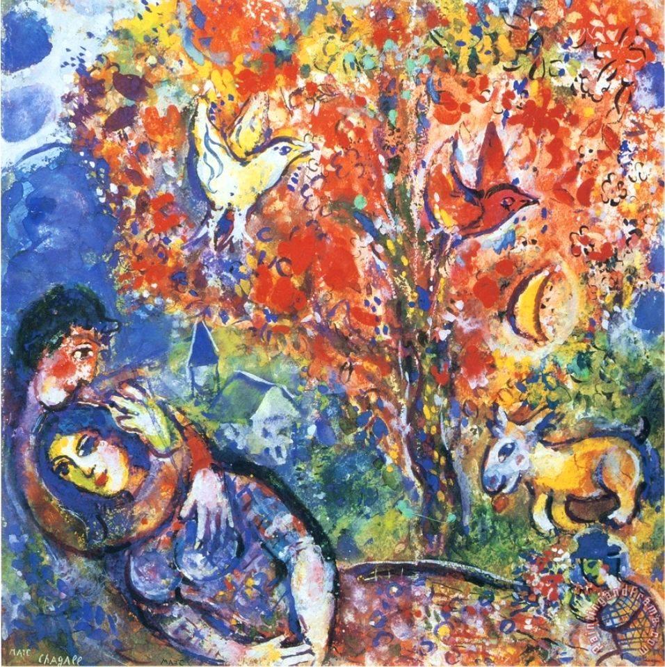 Marc chagall die verliebten painting die verliebten for Watercolor art prints for sale