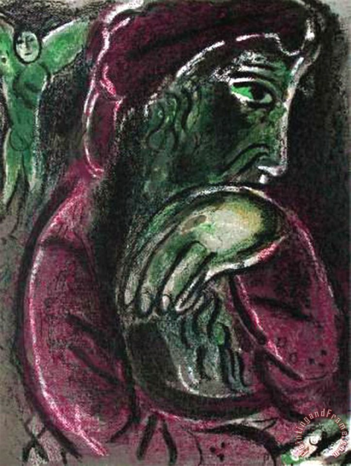 La Bible Job Desespere painting - Marc Chagall La Bible Job Desespere Art Print