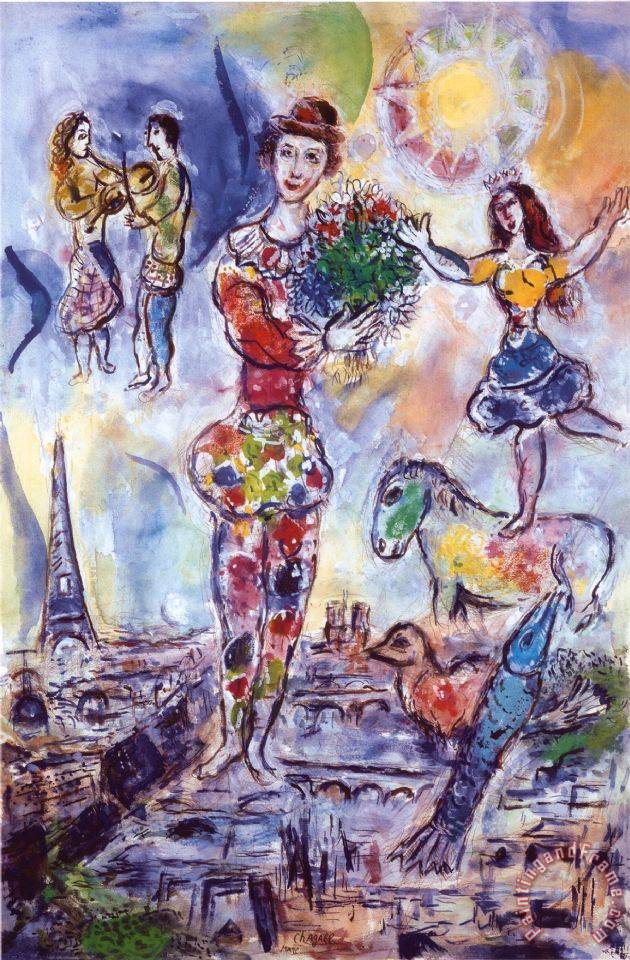 Marc Chagall On The Roof Of Paris Painting On The Roof