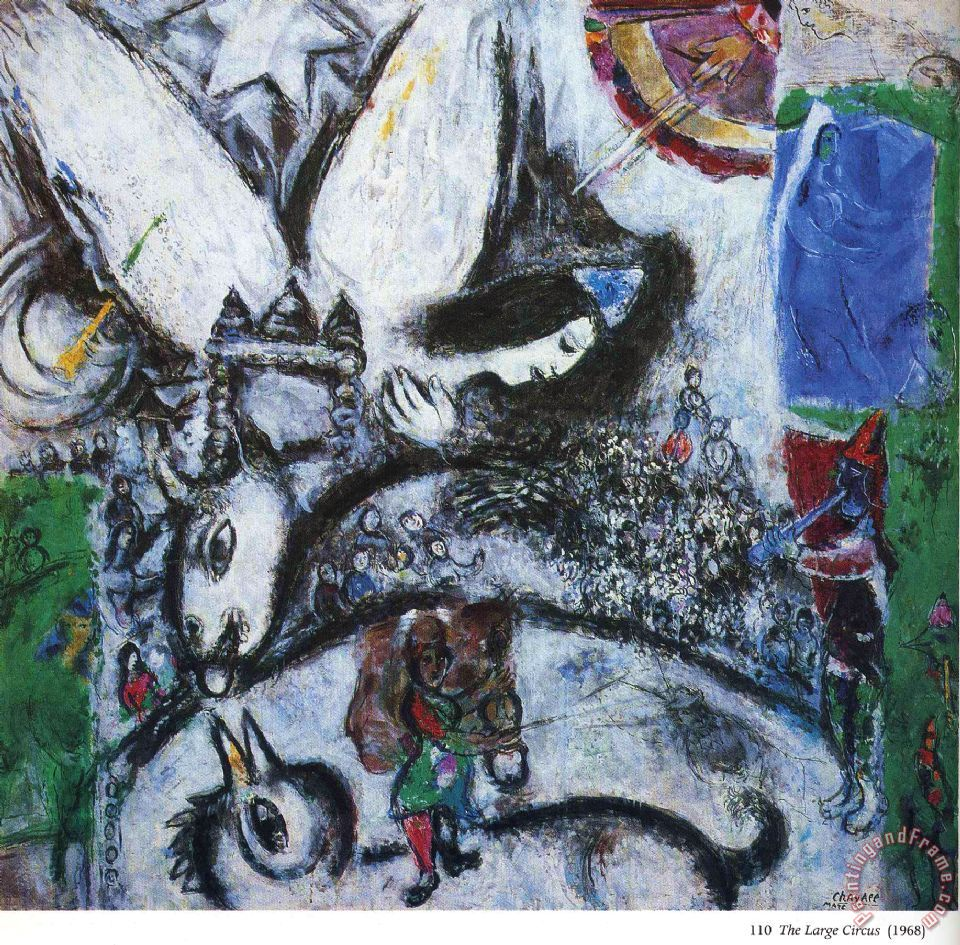 Marc chagall the big circus 1968 painting the big circus for Large prints for sale