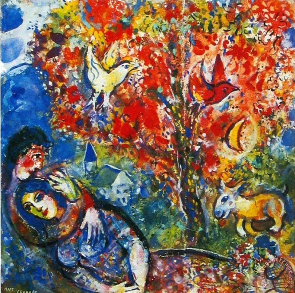 Marc Chagall The Enamoured Painting The Enamoured Print
