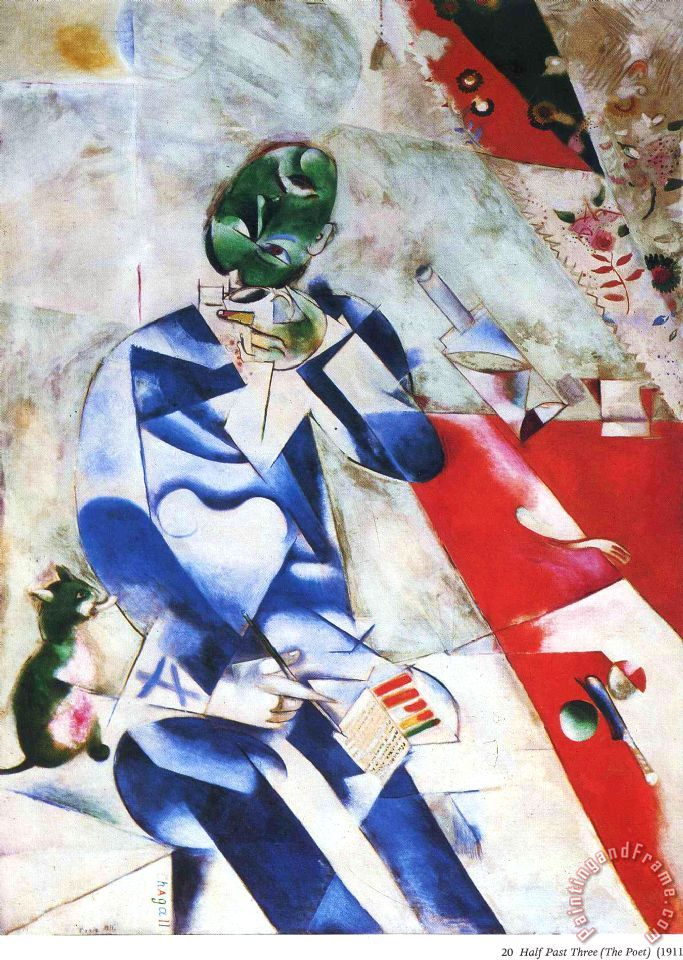 Marc Chagall The Poet Or Half Past Three 1912 Art Painting