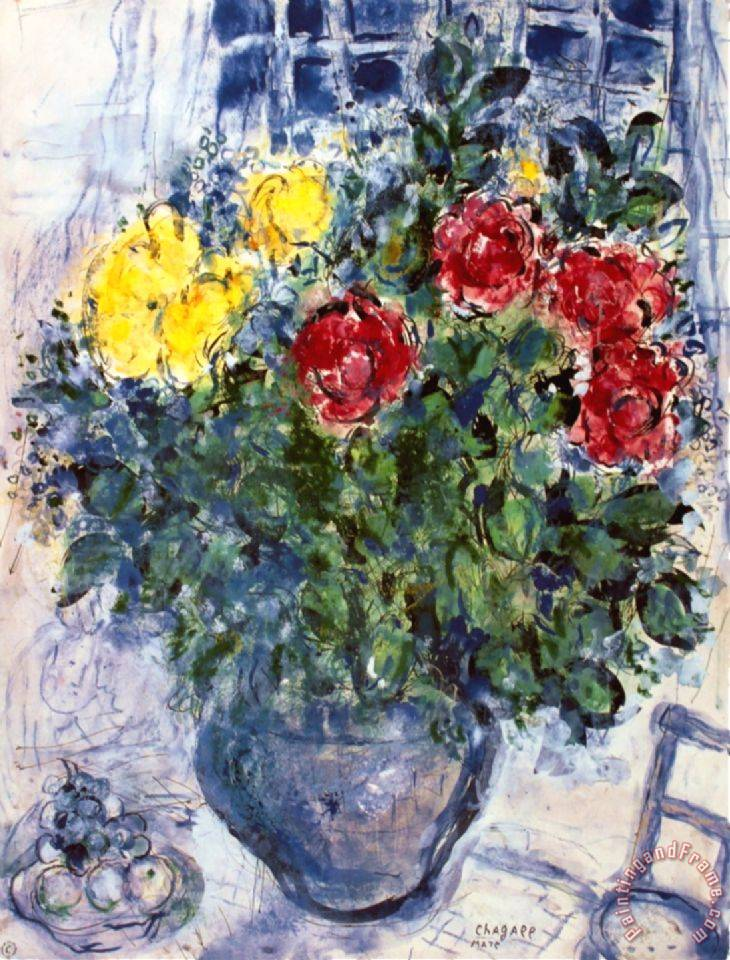 marc chagall vase de fleurs painting vase de fleurs print for sale. Black Bedroom Furniture Sets. Home Design Ideas