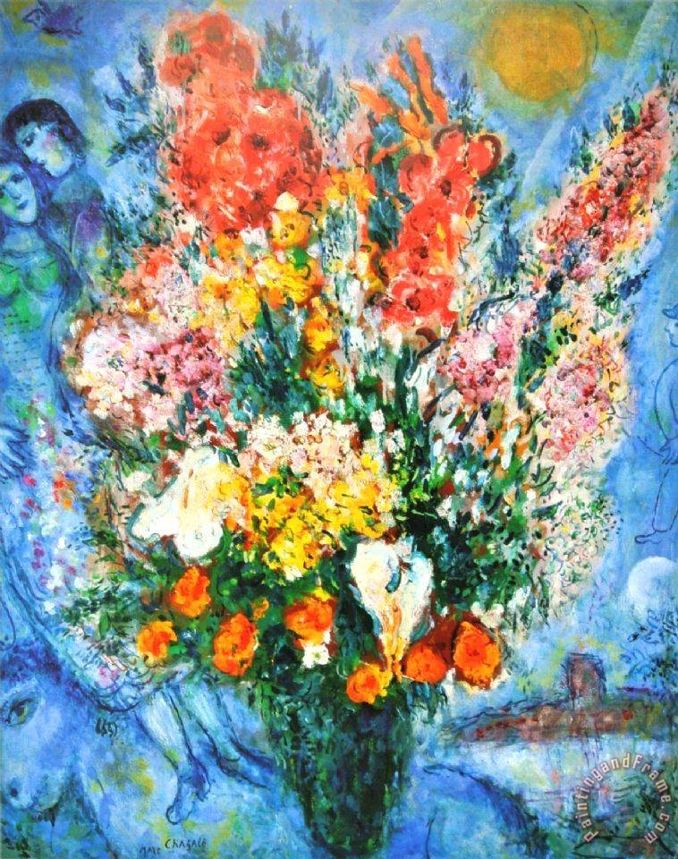 Marc Chagall Vase of Flowers Le Bouquet 1958 painting - Vase of ...