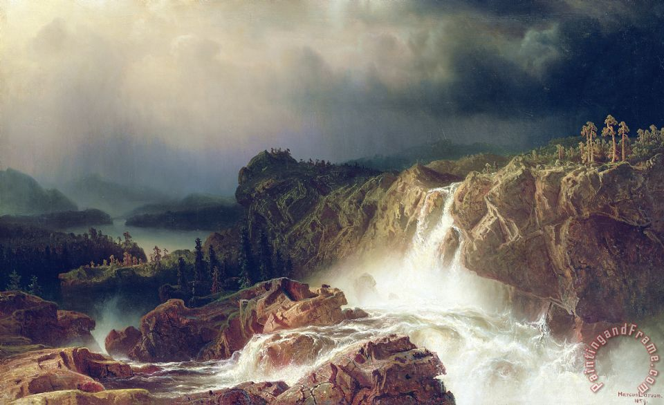 Rocky Landscape With Waterfall In Smaland painting - Marcus Larson Rocky Landscape With Waterfall In Smaland Art Print