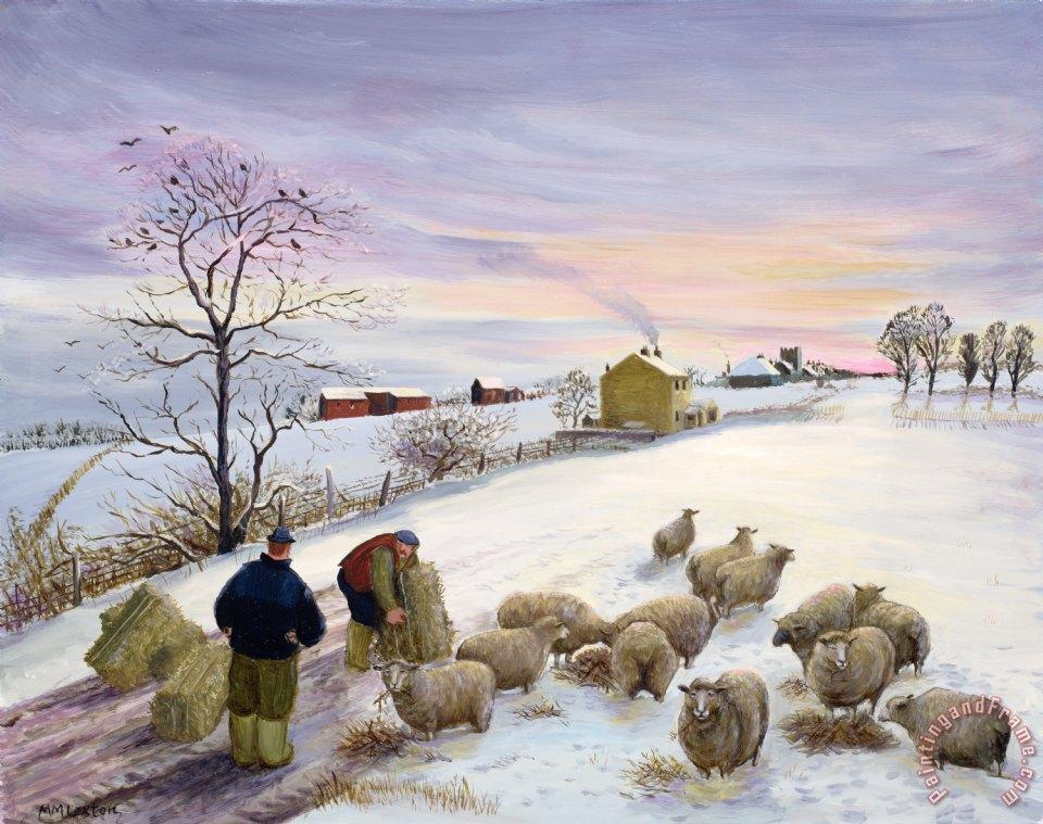 Margaret Loxton Feeding Sheep In Winter Painting Feeding