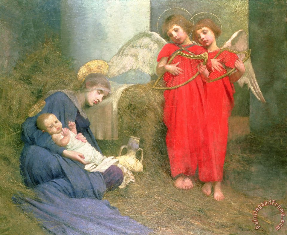 Marianne stokes angels entertaining the holy child for Angel paintings for sale