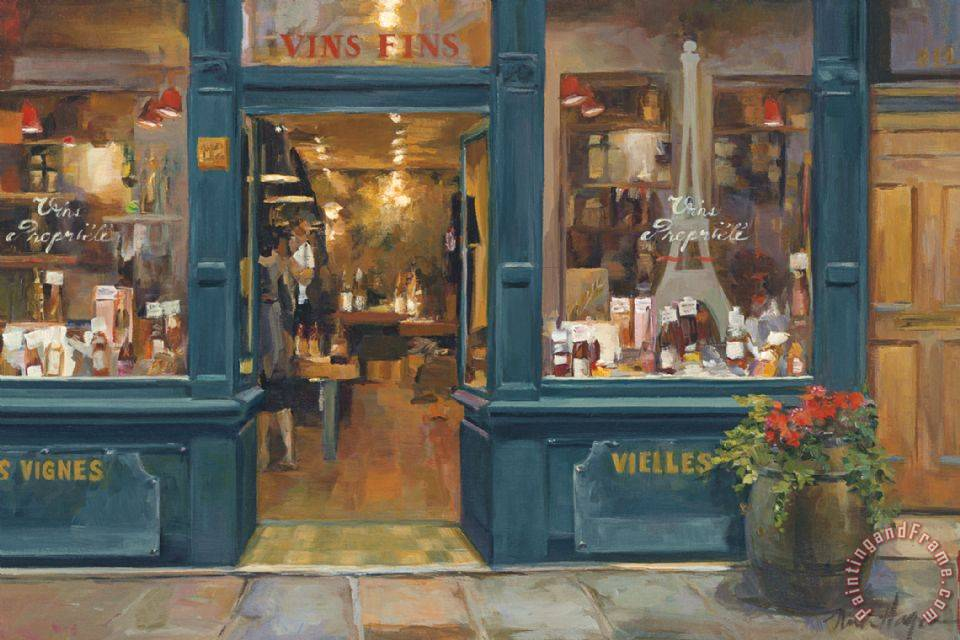 Parisian Wine Shop painting - Marilyn Hageman Parisian Wine Shop Art Print