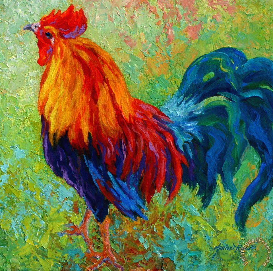 Band Of Gold - Rooster painting - Marion Rose Band Of Gold - Rooster Art Print