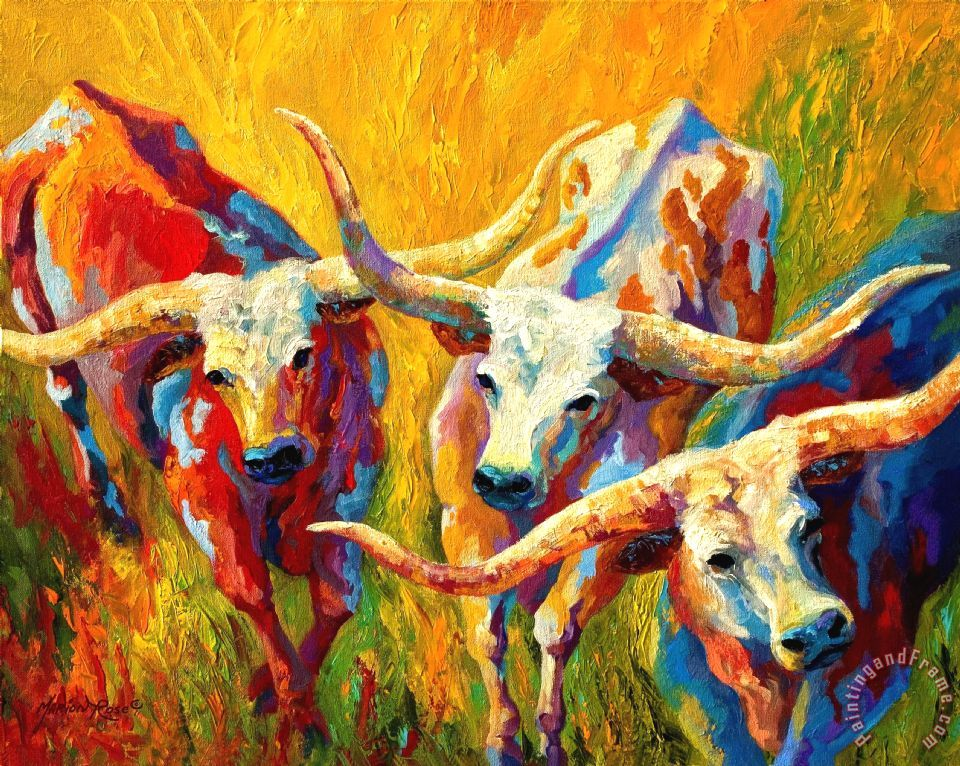 Dance Of The Longhorns painting - Marion Rose Dance Of The Longhorns Art Print