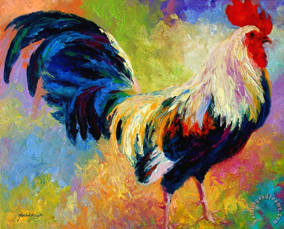 Eye Candy - Rooster painting - Marion Rose Eye Candy - Rooster Art Print