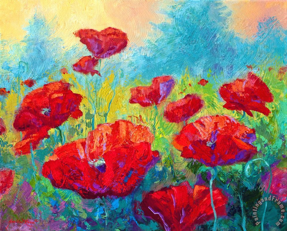 Field Of Red Poppies painting - Marion Rose Field Of Red Poppies Art Print