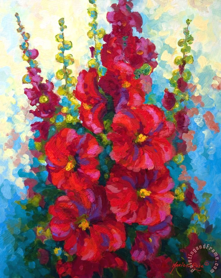 Hollyhocks painting - Marion Rose Hollyhocks Art Print