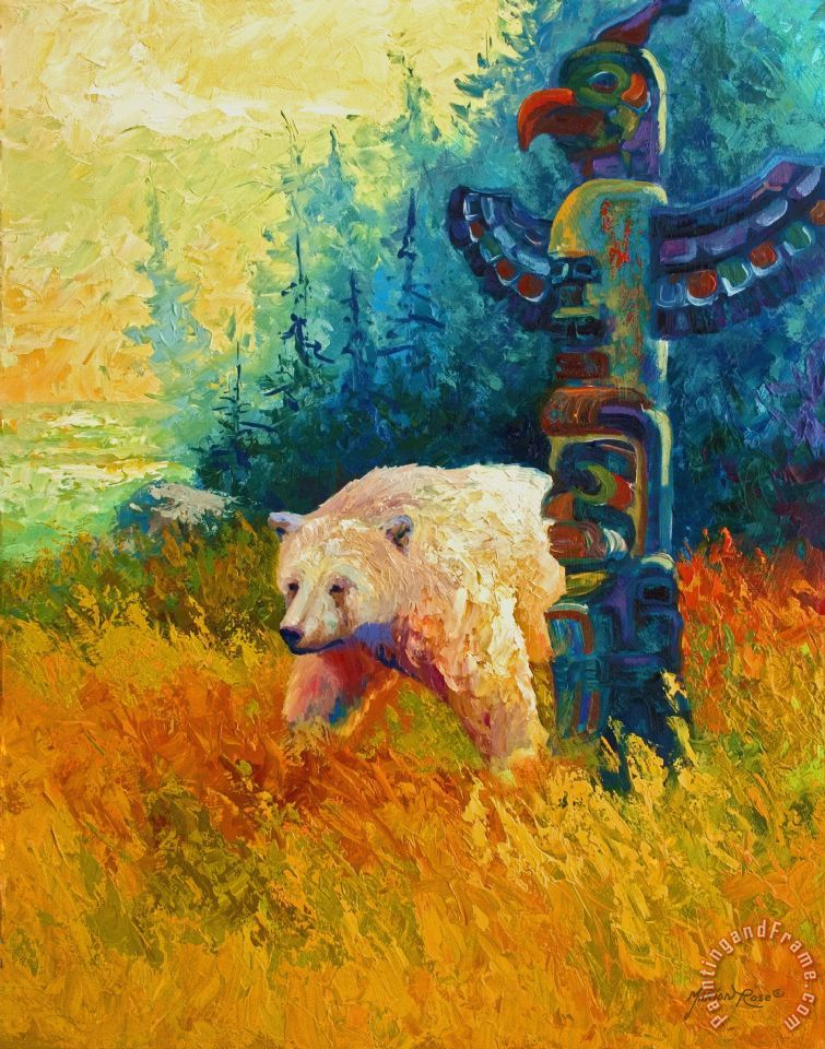 Kindred Spirits - Kermode Spirit Bear painting - Marion Rose Kindred Spirits - Kermode Spirit Bear Art Print