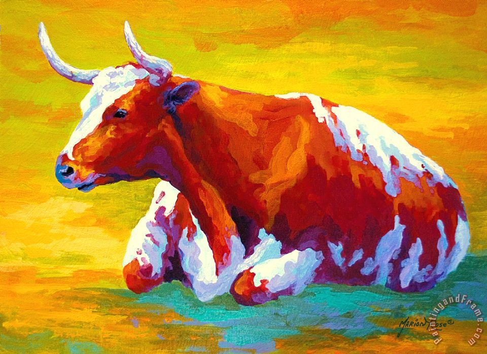 Marion Rose Longhorn Cow Art Painting