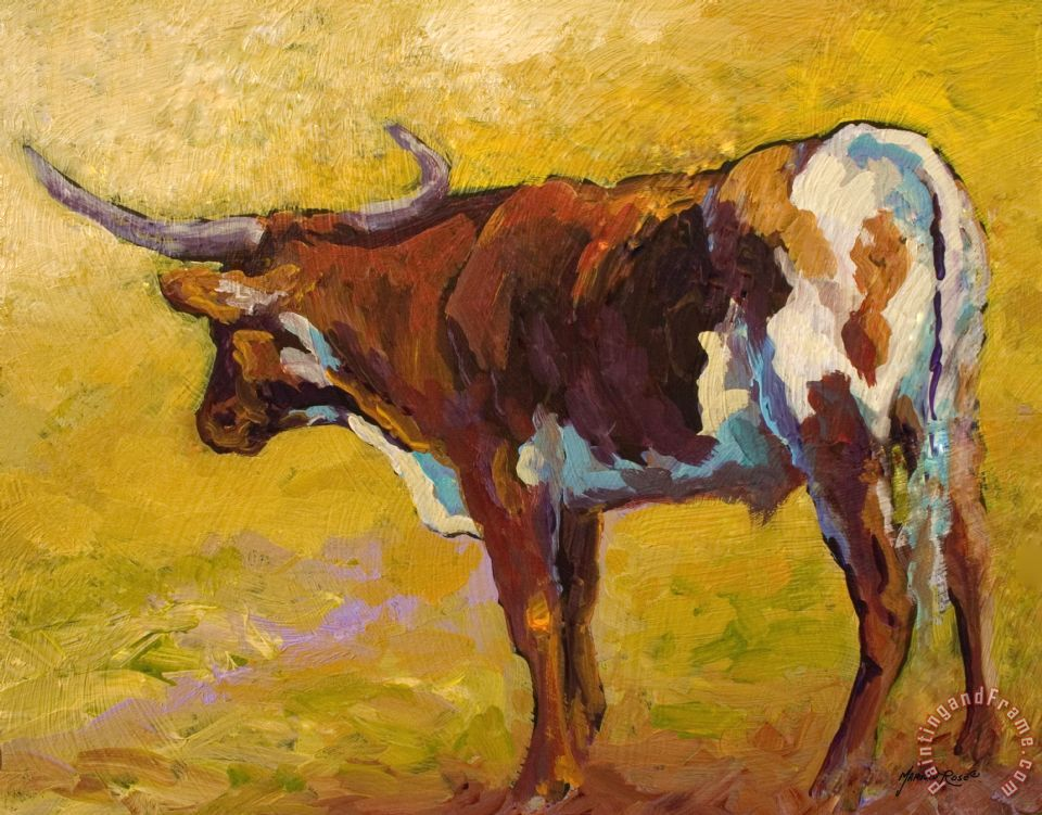 Marion Rose Longhorn Study Art Painting