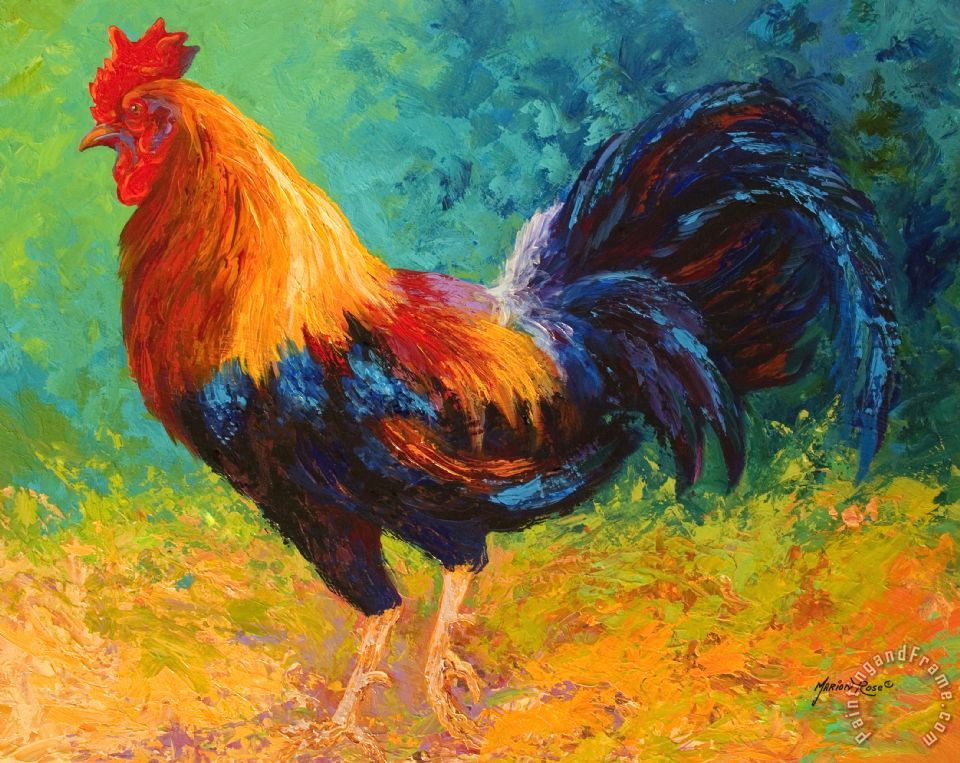 Mr Big - Rooster painting - Marion Rose Mr Big - Rooster Art Print