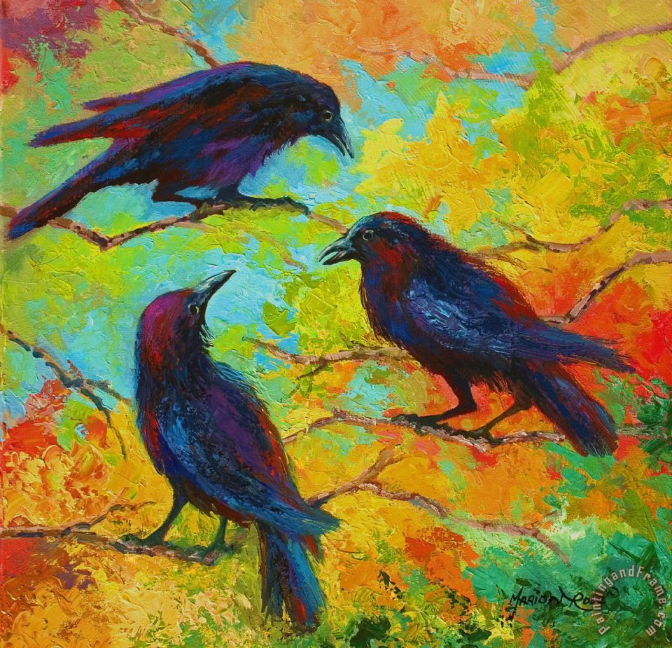 Roundtable Discussion - Crows painting - Marion Rose Roundtable Discussion - Crows Art Print
