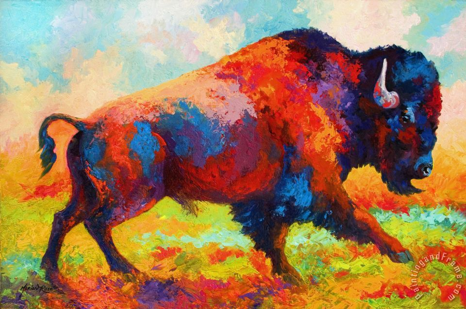 Running Free - Bison painting - Marion Rose Running Free - Bison Art Print
