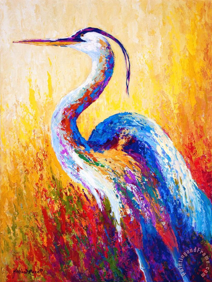 Steady Gaze - Great Blue Heron painting - Marion Rose Steady Gaze - Great Blue Heron Art Print