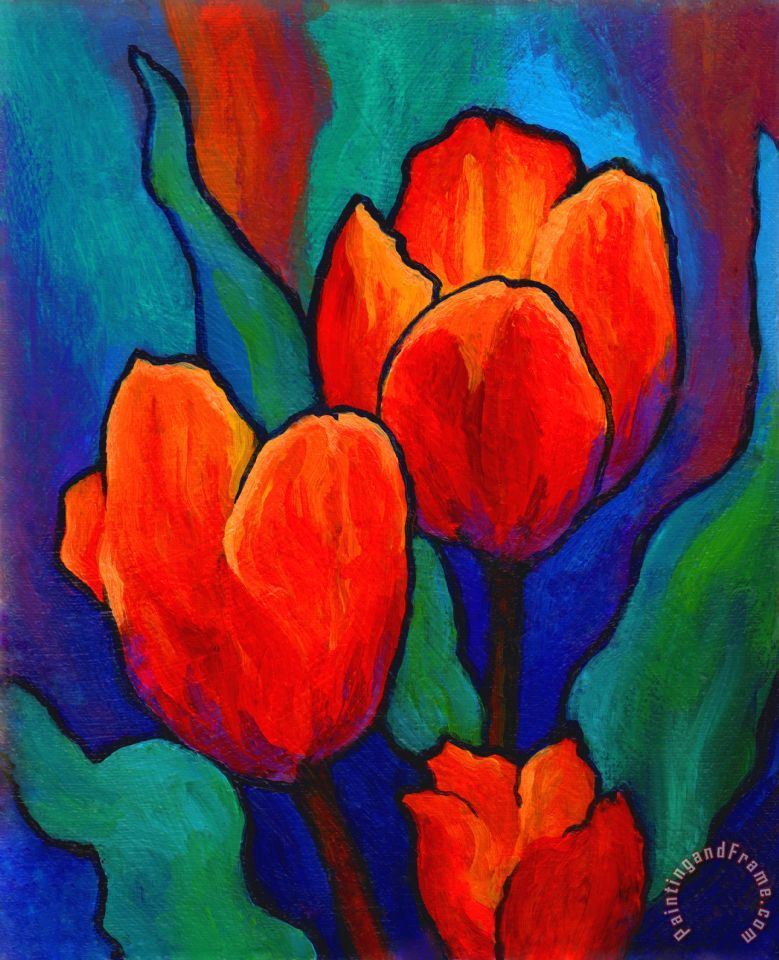 Marion rose tulip trio painting tulip trio print for sale for Painting for sale by artist