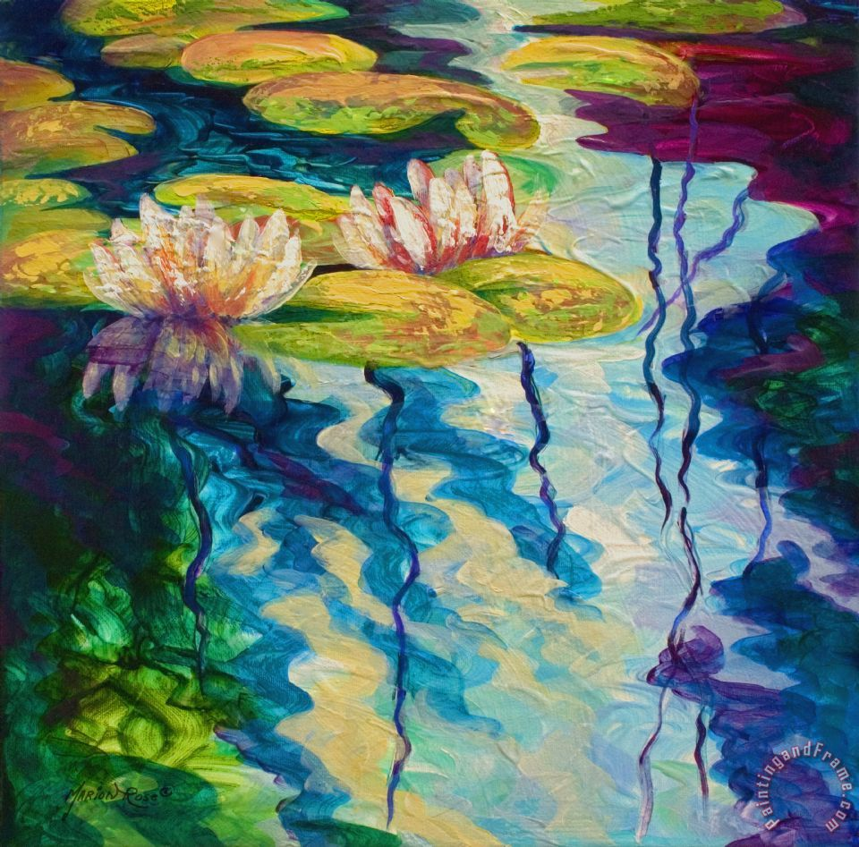 Water Lilies I painting - Marion Rose Water Lilies I Art Print