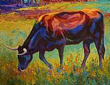 Grazing Texas Longhorn by Marion Rose