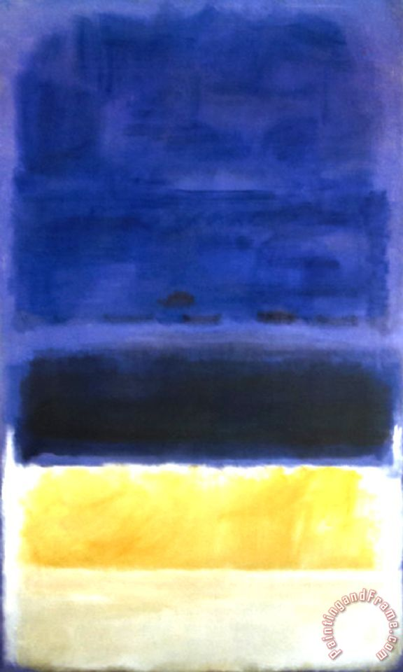 untitled blue dark blue yellow painting mark rothko untitled blue dark blue yellow art print