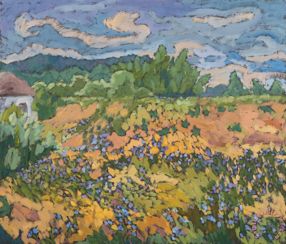 Marta martonfi benke wild flowers on the dyke bank painting wild flowers on the dyke bank for Olive garden van dyke