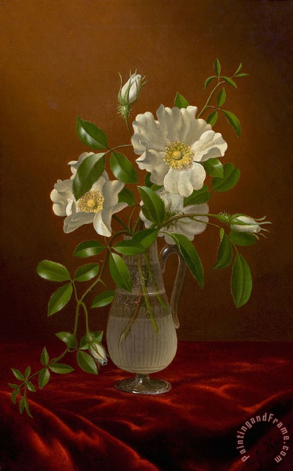 Martin Johnson Heade Cherokee Roses In A Glass Vase Painting