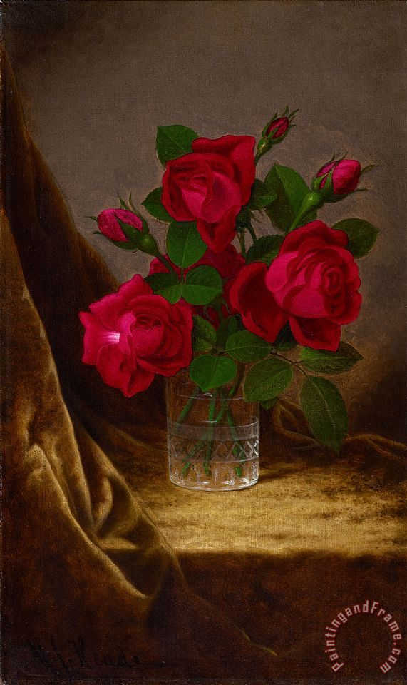 Martin Johnson Heade Jacqueminot Roses Art Print