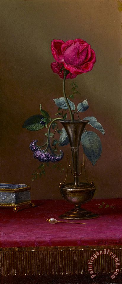Martin Johnson Heade Red Rose And Heliotrope in a Vase Art Print