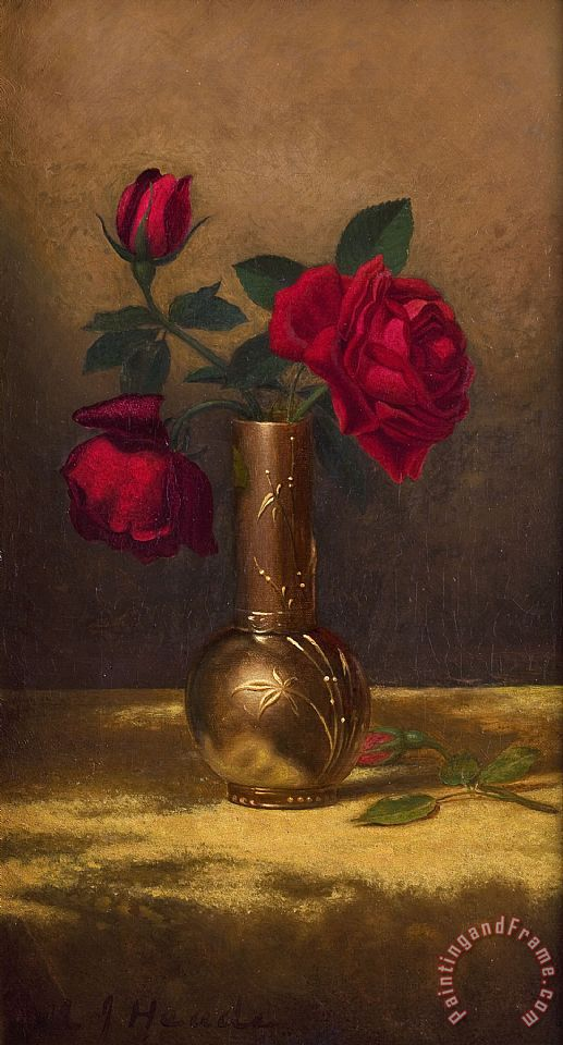 Red Roses in a Japanese Vase on a Gold Velvet Cloth painting - Martin Johnson Heade Red Roses in a Japanese Vase on a Gold Velvet Cloth Art Print