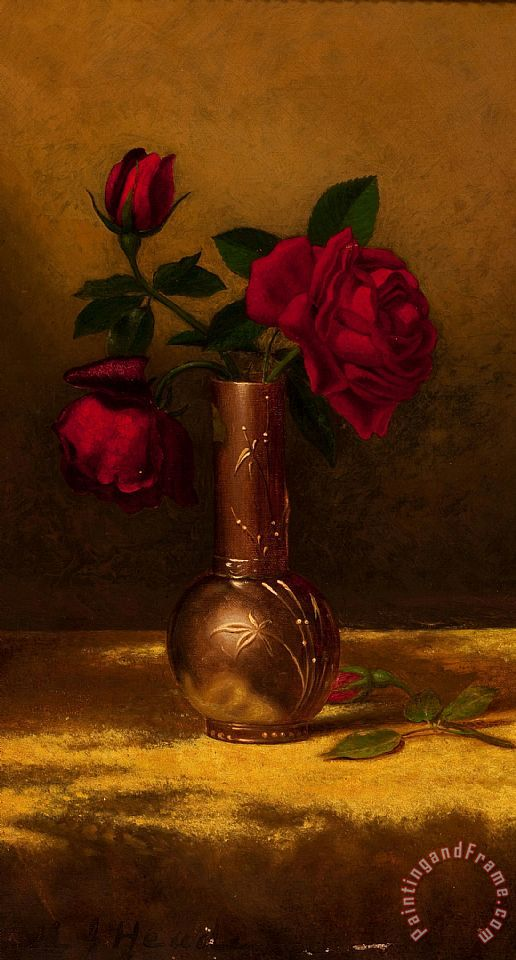 Red Roses in a Japanese Vase on a Gold Velvet Cloth 2 painting - Martin Johnson Heade Red Roses in a Japanese Vase on a Gold Velvet Cloth 2 Art Print