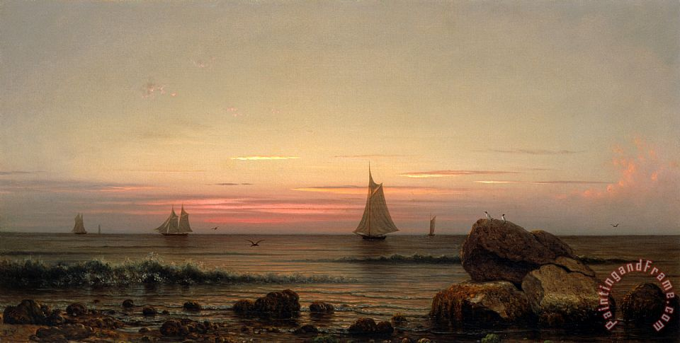 Martin Johnson Heade Sailing Off The Coast Art Print