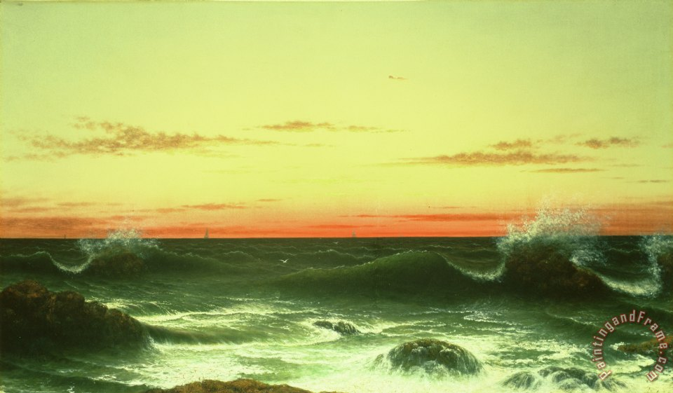 Seascape Sunset 1861 painting - Martin Johnson Heade Seascape Sunset 1861 Art Print