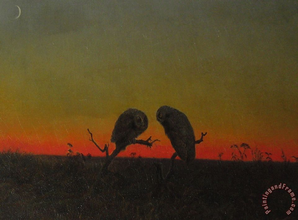 Martin Johnson Heade Two Owls at Sunset Art Print